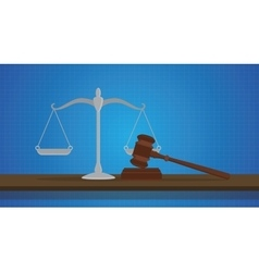 Gavel with scale judge object isolated blue vector