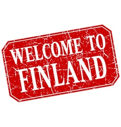 Welcome to finland red square grunge stamp vector
