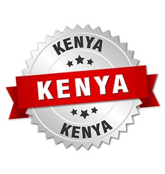 Kenya round silver badge with red ribbon vector