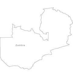 Black White Zambia Outline Map vector image