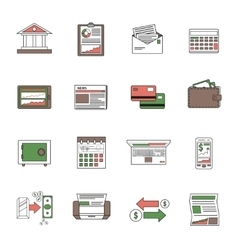 Bank Icons Outline vector image vector image