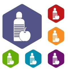 Bottle of water and apple icons set vector image