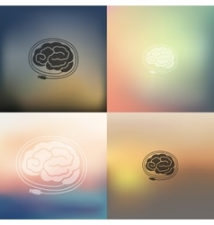 Brain icon on blurred background vector