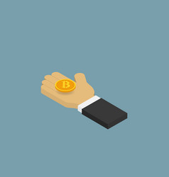 businessman holding a coin bitcoins isometric vector image