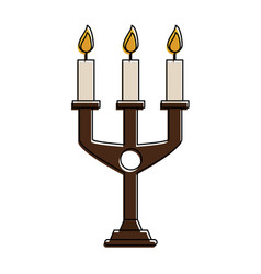 Chandelier with lit candles icon image vector