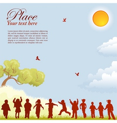 children silhouettes vector image