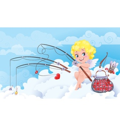 Cupid the fisherman vector image vector image