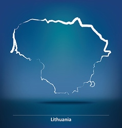 Doodle map of lithuania vector
