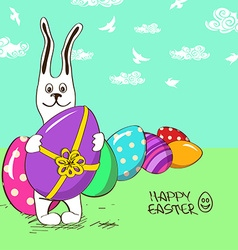 Easter bunny rabbit with eggs vector image