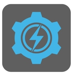 Electric cogwheel rounded square icon vector