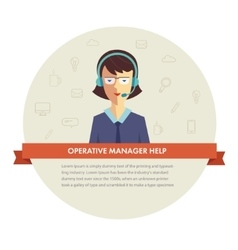 Female manager help banner vector