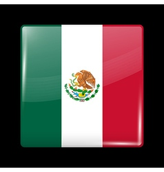 Flag of mexico glossy icon square shape vector