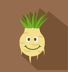 Fresh smiling turnip icon flat style vector