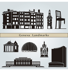 Geneva landmarks and monuments vector image vector image