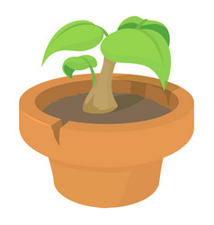 green plant icon cartoon style vector image vector image