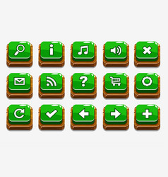 green wood buttons with different menu elements vector image vector image