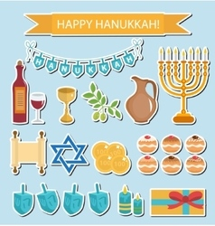Hanukkah sticker pack hanukkah icons vector