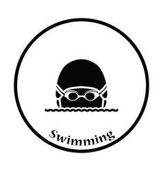 Icon of Swimming man head with goggles and cap vector image vector image