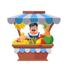 Local market farmer selling vegetables vector image