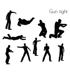 Man in gunfight action pose vector