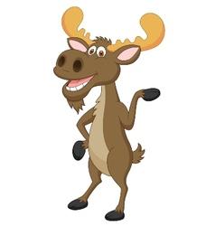 Moose cartoon waving vector image vector image