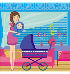 mother hugs her child vector image