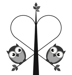 OWL TREE HEART vector image vector image