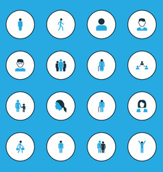 Person colorful icons set collection of walking vector