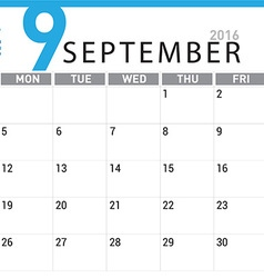 planning calendar September 2016 vector image