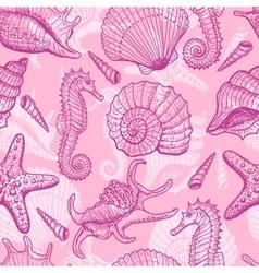 Sea hand drawn seamless pattern vector
