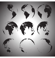 Set of black globe icons vector