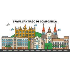 Spain santiago de compostela city skyline vector