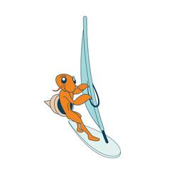 Surfing hermit crab character vector