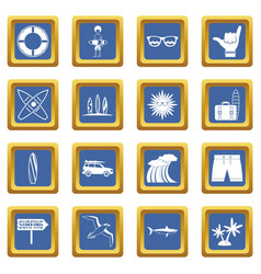 Surfing icons set blue vector