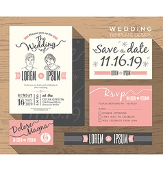 Trendy wedding invitation set design Template vector image vector image