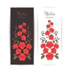 Tropical Cards with Hibiscus Flower vector image