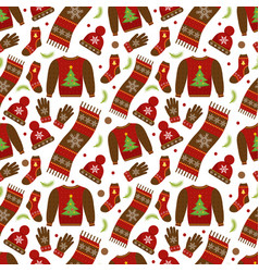 winter apparel seamless pattern christmas clothes vector image vector image