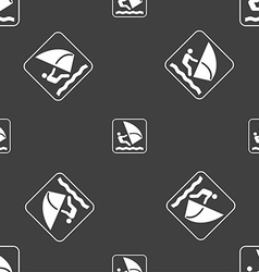 Windsurfing sign Seamless pattern on a gray vector image