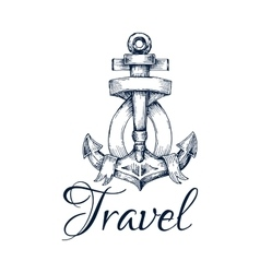 Travel icon anchor and ribbon node emblem vector