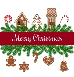 Merry christmas card with gingerbread figures vector