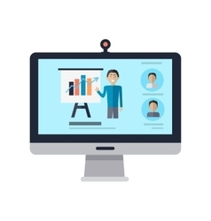 Computer display with man and presentation screen vector