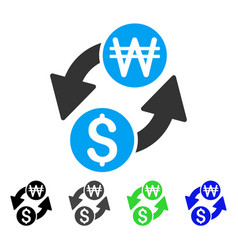 Dollar korean won exchange flat icon vector