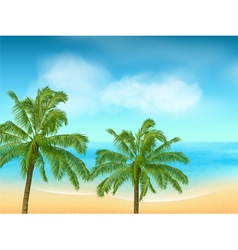 summer sea and palm tree background landscape vector image