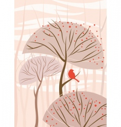 bird with tree vector image