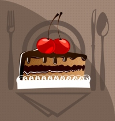 Cake and cherry vector