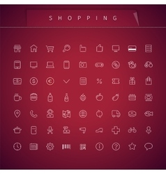 Shopping thin icons set vector