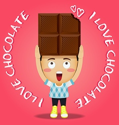 Happy man carrying big chocolate bar vector