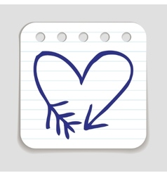 Doodle arrow heart icon vector