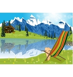 Woman sunbathing on lounge chair vector
