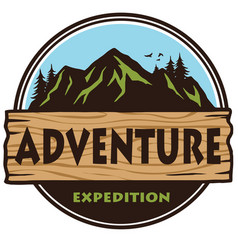 adventure mountain expedition camping logo vector image vector image